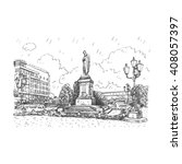monument to the russian poet... | Shutterstock .eps vector #408057397