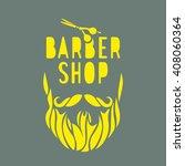 vector hipster barber shop logo ... | Shutterstock .eps vector #408060364