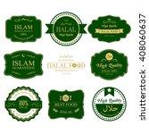 guaranteed halal label.ramadan... | Shutterstock .eps vector #408060637