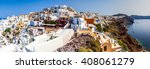 panoramic view of oia village ... | Shutterstock . vector #408061279