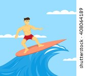 picture of man on surfboard ... | Shutterstock .eps vector #408064189