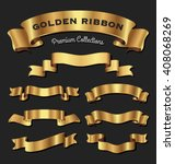 set of premium golden ribbons... | Shutterstock .eps vector #408068269