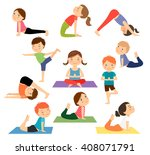children yoga. kids doing yoga... | Shutterstock .eps vector #408071791
