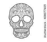 human skull coloring book for... | Shutterstock .eps vector #408077605
