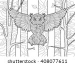 Owl In The Forest Bird Colorin...
