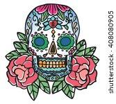 skull and rose. old school...   Shutterstock .eps vector #408080905