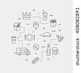 fast food. set of line icons.... | Shutterstock .eps vector #408082891