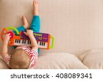 top view on small cute toddler... | Shutterstock . vector #408089341