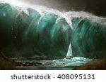 sailboat in front of a tsunami | Shutterstock . vector #408095131