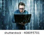 nerdy hacker has no idea what... | Shutterstock . vector #408095701