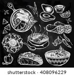 mexican hand drawn food set... | Shutterstock .eps vector #408096229