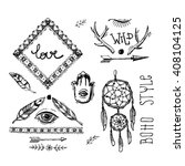 set of boho style  hand drawn... | Shutterstock .eps vector #408104125