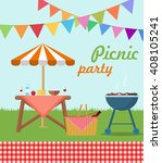 picnic party poster | Shutterstock .eps vector #408105241