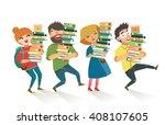 students holding pile of books. ... | Shutterstock .eps vector #408107605