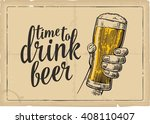 male hand holding a beer glass. ... | Shutterstock .eps vector #408110407