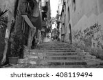 narrow city street with stairs...   Shutterstock . vector #408119494