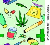 medical marijuana icons pattern ... | Shutterstock . vector #408120589