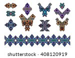 big set of ethnic jewelry  art  ... | Shutterstock .eps vector #408120919