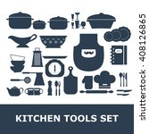 kitchen tools silhouette vector ... | Shutterstock .eps vector #408126865