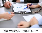 close up of business people at... | Shutterstock . vector #408128329