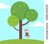 girl swinging on a tree rope... | Shutterstock .eps vector #408133429