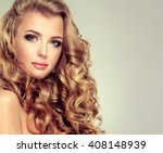 blondel girl with long wavy... | Shutterstock . vector #408148939