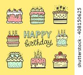 cute happy birthday card or... | Shutterstock .eps vector #408150625