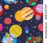 seamless space pattern. planets ... | Shutterstock .eps vector #408153769
