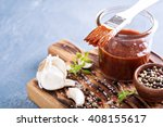 barbeque sauce with a basting... | Shutterstock . vector #408155617