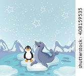 polar animals on ice ocean ... | Shutterstock . vector #408159535