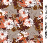 seamless pattern with camomile... | Shutterstock .eps vector #408160381