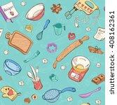 baking doodle background.... | Shutterstock .eps vector #408162361