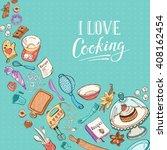 baking utensils in doodle style.... | Shutterstock .eps vector #408162454