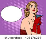 beautiful woman in red with a...   Shutterstock .eps vector #408176299