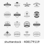Vintage Logos Design Templates Set. Vector logotypes elements collection, Icons Symbols, Retro Labels, Badges, Silhouettes. | Shutterstock vector #408179119