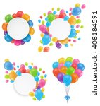 a set of balloons. round white... | Shutterstock .eps vector #408184591
