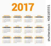 calendar for 2017 year on white ... | Shutterstock .eps vector #408185551