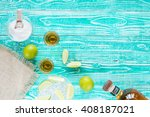 tequila in glasses and lime... | Shutterstock . vector #408187021
