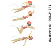 set with athlete woman swimming ... | Shutterstock .eps vector #408194971