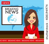 beautiful young tv newscaster... | Shutterstock .eps vector #408194974