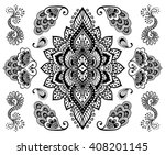 hand drawn mehendi ornament... | Shutterstock .eps vector #408201145