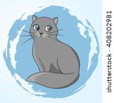 cute gray cat. illustration of... | Shutterstock . vector #408202981