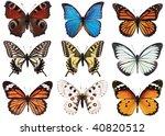 Stock photo left to right peacock butterfly vanessa io blue morpho monarch danaus plexippus tiger 40820512