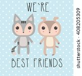 Stock vector cat and dog characters on polka dots background 408205309