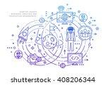 flat style  thin line art... | Shutterstock .eps vector #408206344