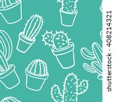 seamless pattern with cactus.... | Shutterstock .eps vector #408214321