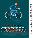 Illustration Of Bicycle Parkin...