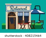 the facade of the restaurant in ... | Shutterstock .eps vector #408215464