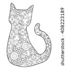 cat silhouette. colouring book... | Shutterstock .eps vector #408223189