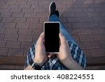 guy sitting on a bench and... | Shutterstock . vector #408224551